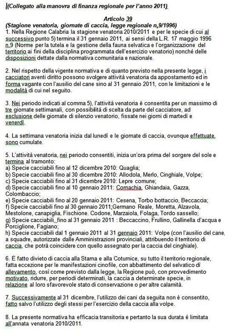 Regione Calabria Caccia E Pesca Calendario Venatorio.News Fidc 2010 Tuttociccio
